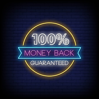 100% money back guaranteed neon signs style text vector