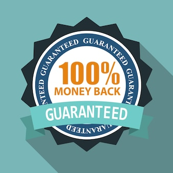 100 money back quality label sign in flat modern design with long shadow. vector illustration eps10
