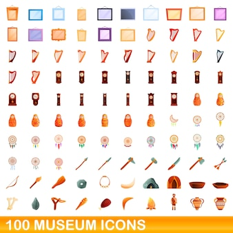 100 museum icons set. cartoon illustration of 100 museum icons vector set isolated on white background