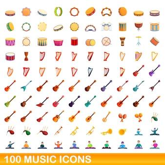 100개의 음악 아이콘이 설정되었습니다. 100 음악 아이콘의 만화 그림 격리 설정