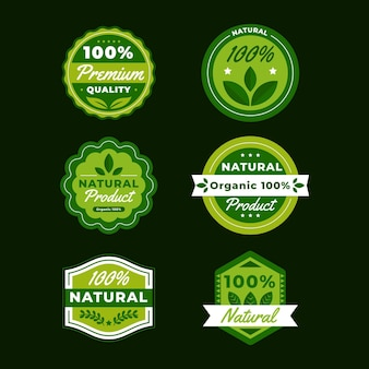 100% natural badge collection Premium Vector