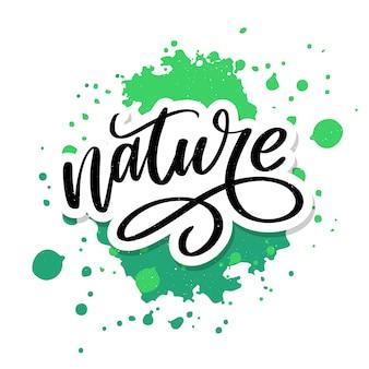 100 натуральных зеленых надписей наклейка с кистью каллиграфии. эко дружественных концепция для наклейки, баннеры, открытки, реклама. экология природы.