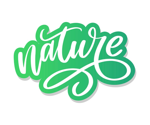 100 natural green lettering sticker with brushpen calligraphy. eco friendly concept for stickers, banners, cards, advertisement. ecology nature design.