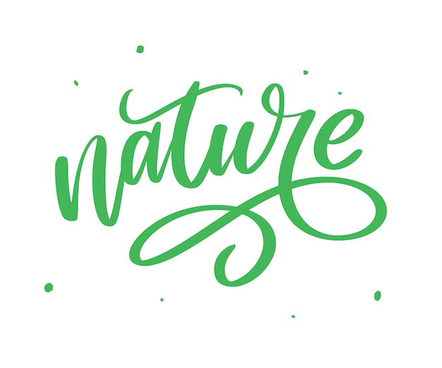 100 natural green lettering sticker with brushpen calligraphy. eco friendly concept for stickers, banners, cards, advertisement.  ecology nature . Premium Vector