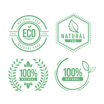 100% natural label pack Free Vector