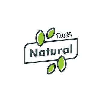 100% натуральный шаблон логотипа. лист значок символ векторный логотип