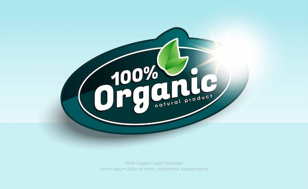 100% natural organic label or sticker