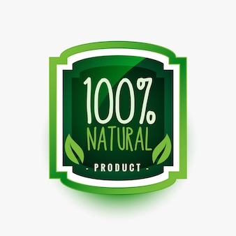 100% natural organic product green label or sticker design