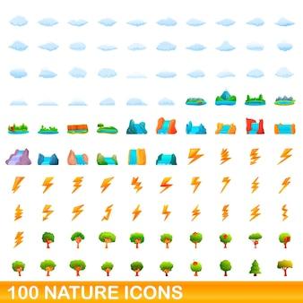 100個の自然アイコンが設定されています。白い背景で隔離の100の自然アイコンセットの漫画イラスト