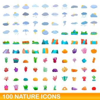 100個の自然アイコンが設定されています。白い背景で隔離の100の自然アイコンベクトルセットの漫画イラスト