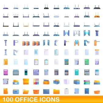 Набор 100 офисных иконок. карикатура иллюстрации набора 100 офисных иконок, изолированные на белом фоне
