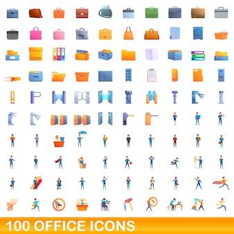100 사무실 아이콘을 설정합니다. 100 사무실 아이콘의 만화 그림에 격리 된 흰색 배경을 설정합니다