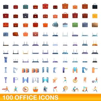 100 사무실 아이콘을 설정합니다. 100 사무실 아이콘의 만화 그림 격리 설정