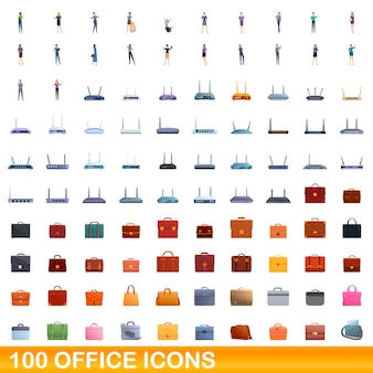 100 사무실 아이콘을 설정합니다. 흰색 배경에 고립 된 100 사무실 아이콘 벡터 세트의 만화 그림