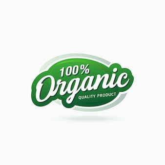 100% organic food product certified badge label sticker