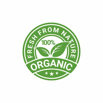 100% organic natural badge label seal sticker design