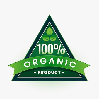 100% organic product green label or sticker