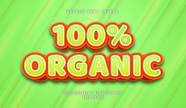 100% organic text effect, editable text style
