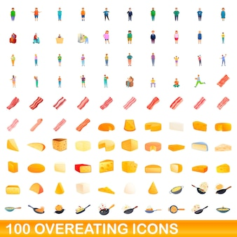 100 overeating icons set. cartoon illustration of 100 overeating icons vector set isolated on white background