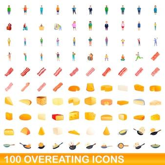 Набор 100 иконок переедания. карикатура иллюстрации 100 векторных иконок переедания набор, изолированные на белом фоне