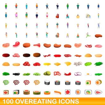 100개의 과식 아이콘이 설정되었습니다. 100 과식 아이콘 벡터 세트의 만화 그림 흰색 배경에 고립