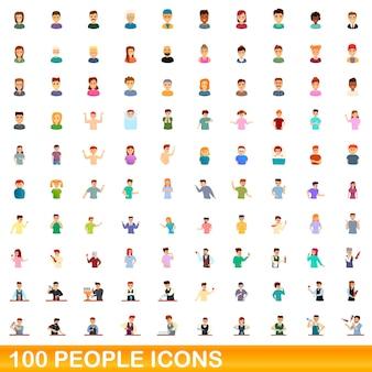 100 people icons set. cartoon illustration of 100 people icons set isolated