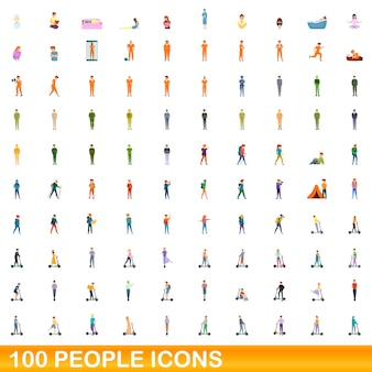 100 people icons set. cartoon illustration of 100 people icons vector set isolated on white background