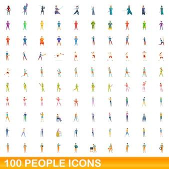 100명 아이콘이 설정되었습니다. 100 명 아이콘 벡터 세트의 만화 그림 흰색 배경에 고립