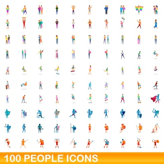 Набор иконок 100 человек. карикатура иллюстрации 100 человек набор векторных иконок, изолированные на белом фоне