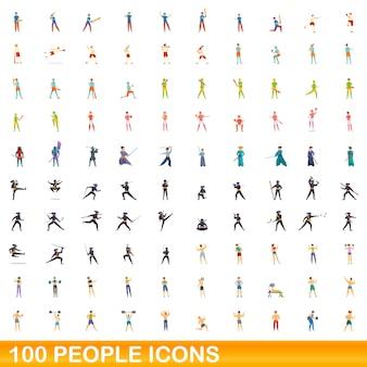 100人のアイコンが設定されています。白い背景で隔離の100人アイコンベクトルセットの漫画イラスト