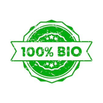 100 percent bio stamp. vector. 100 percent bio badge icon. certified badge logo. stamp template. label, sticker, icons. vector eps 10. isolated on white background.