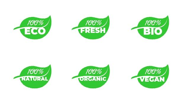 100% сертифицированная качественная экологическая свежая био натуральная органическая веганская коллекция значков с зеленым листом. вектор здоровая экология завод этикетка набор изолированных eps иллюстрации