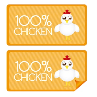 100 percent chicken tags and stickes