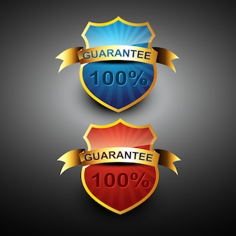 100 percent guarantee icon label design