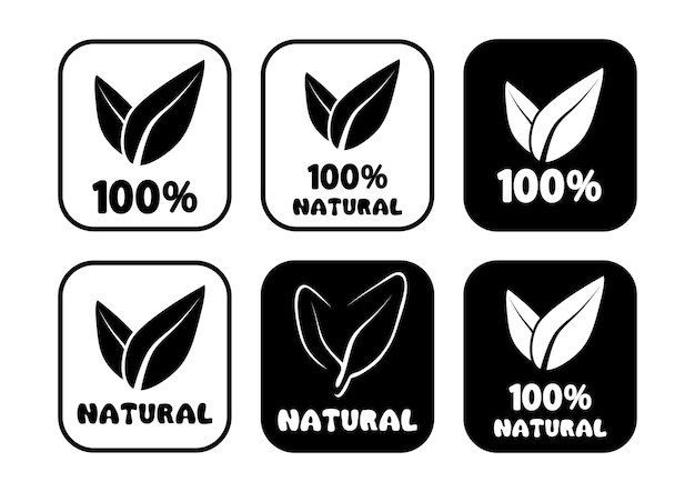 100 percent natural round badges set of round stamps with leaves inside for product packages