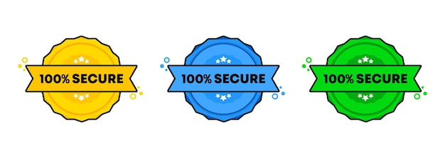 100 percent secure stamp set. . 100 percent secure badge icon. certified badge logo.