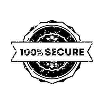 100% 보안 스탬프입니다. 벡터. 100% 보안 배지 아이콘입니다. 인증 배지 로고. 스탬프 템플릿. 레이블, 스티커, 아이콘입니다. 벡터 eps 10입니다. 흰색 배경에 고립.