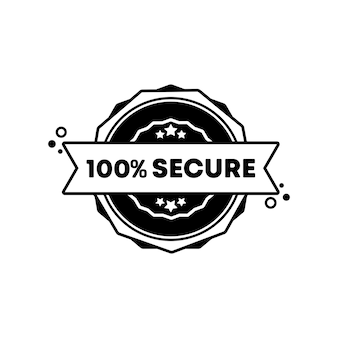 100 percent secure stamp. vector. 100 percent secure badge icon. certified badge logo. stamp template. label, sticker, icons. vector eps 10. isolated on white background.