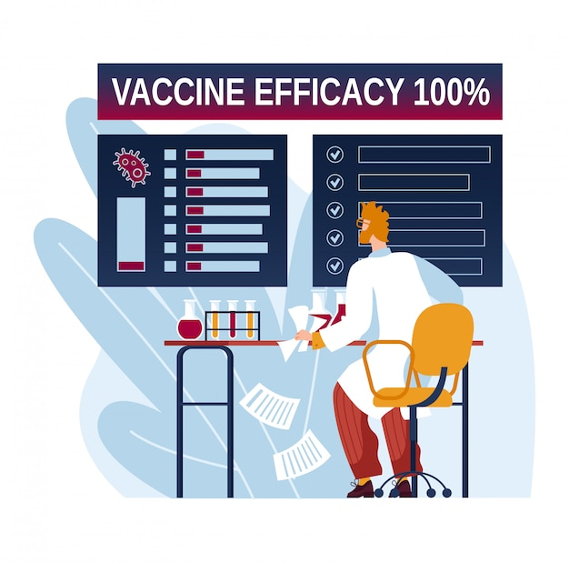 100-процентная эффективность вакцины, надпись на экране монитора, реакция на пандемию