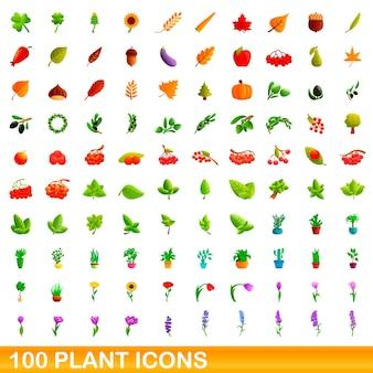 100の植物アイコンが設定されています。白い背景で隔離の100の植物アイコンセットの漫画イラスト