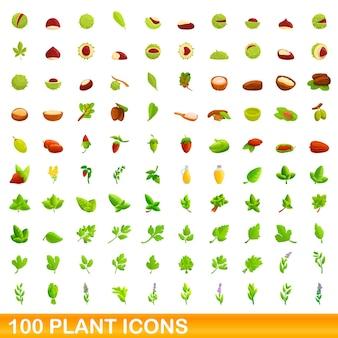 Набор иконок 100 растений. карикатура иллюстрации 100 векторных иконок растений набор, изолированные на белом фоне