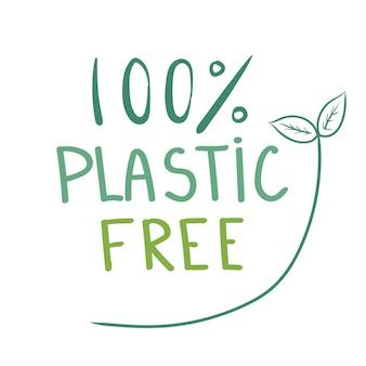 흰색 배경 벡터 일러스트 레이 션 디자인에 고립 된 100 플라스틱 무료 녹색 아이콘 아이콘