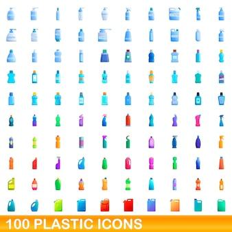100 플라스틱 아이콘을 설정합니다. 100 플라스틱 아이콘의 만화 그림에 격리 된 흰색 배경 설정