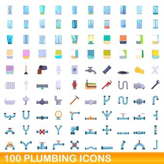 100 배관 아이콘을 설정합니다. 흰색 배경에 고립 된 100 배관 아이콘 벡터 세트의 만화 그림