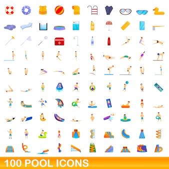 Набор 100 иконок бассейн. карикатура иллюстрации 100 набор иконок бассейн изолированы
