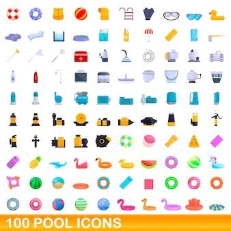 100개의 풀 아이콘이 설정되었습니다. 100 수영장 아이콘의 만화 그림 격리 설정