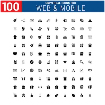 100 presents and infographic icons