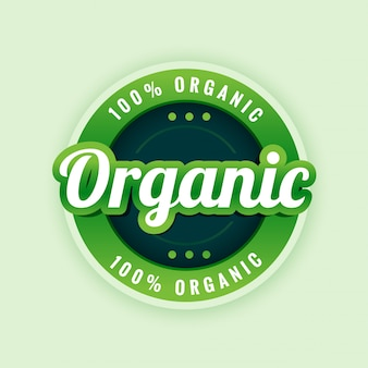 100% pure and organic label or sticker design