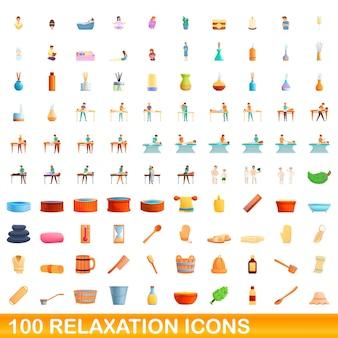 100個のリラクゼーションアイコンが設定されています。分離された100のリラクゼーションアイコンセットの漫画イラスト