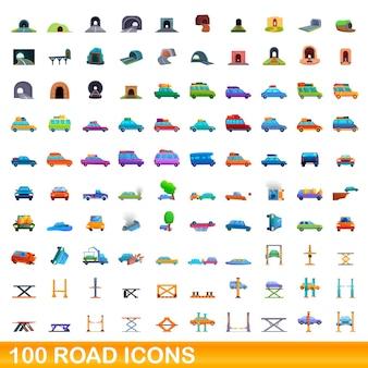 100の道路アイコンが設定されています。白い背景で隔離の100道路アイコンベクトルセットの漫画イラスト